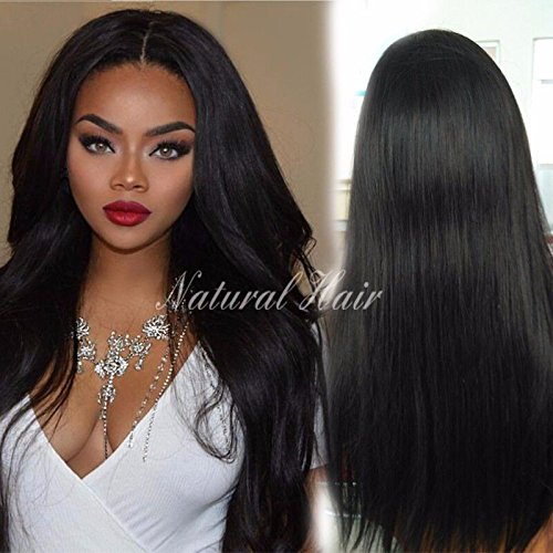 Lace Front Wigs Human Hair 8A Virgin Brizilian Long Straight Full Lace Front Wigs for Black Women Pre Plucked Hairline Natural Color (22 inch, lace frontal wig) by Dream Beauty