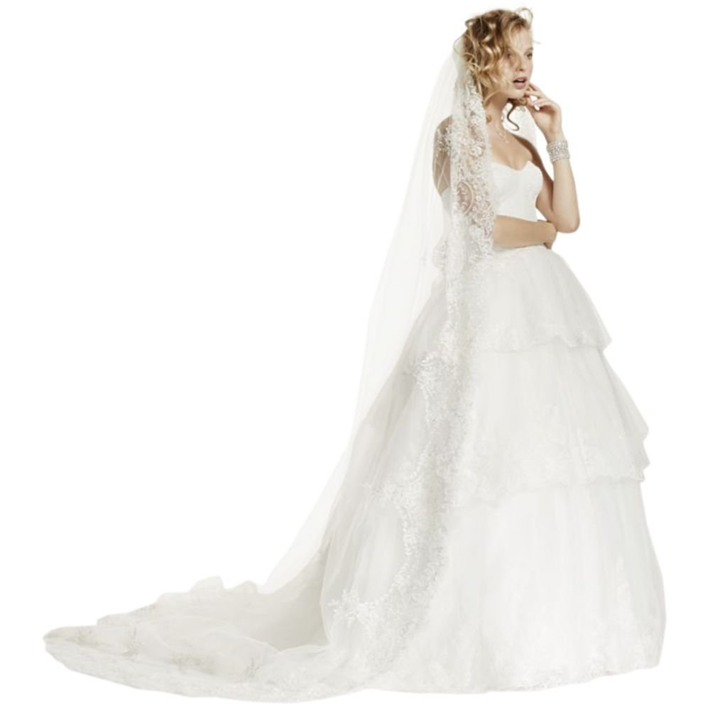 One Tier Heavily Embellished Cathedral Veil Style VL7746ZHN39B, Ivory by David's Bridal