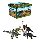 Neat-Oh! ZipBin Dinosaur Collector Storage Toy Box Playmat with Museum Quality Dinosaur Replica Figurines