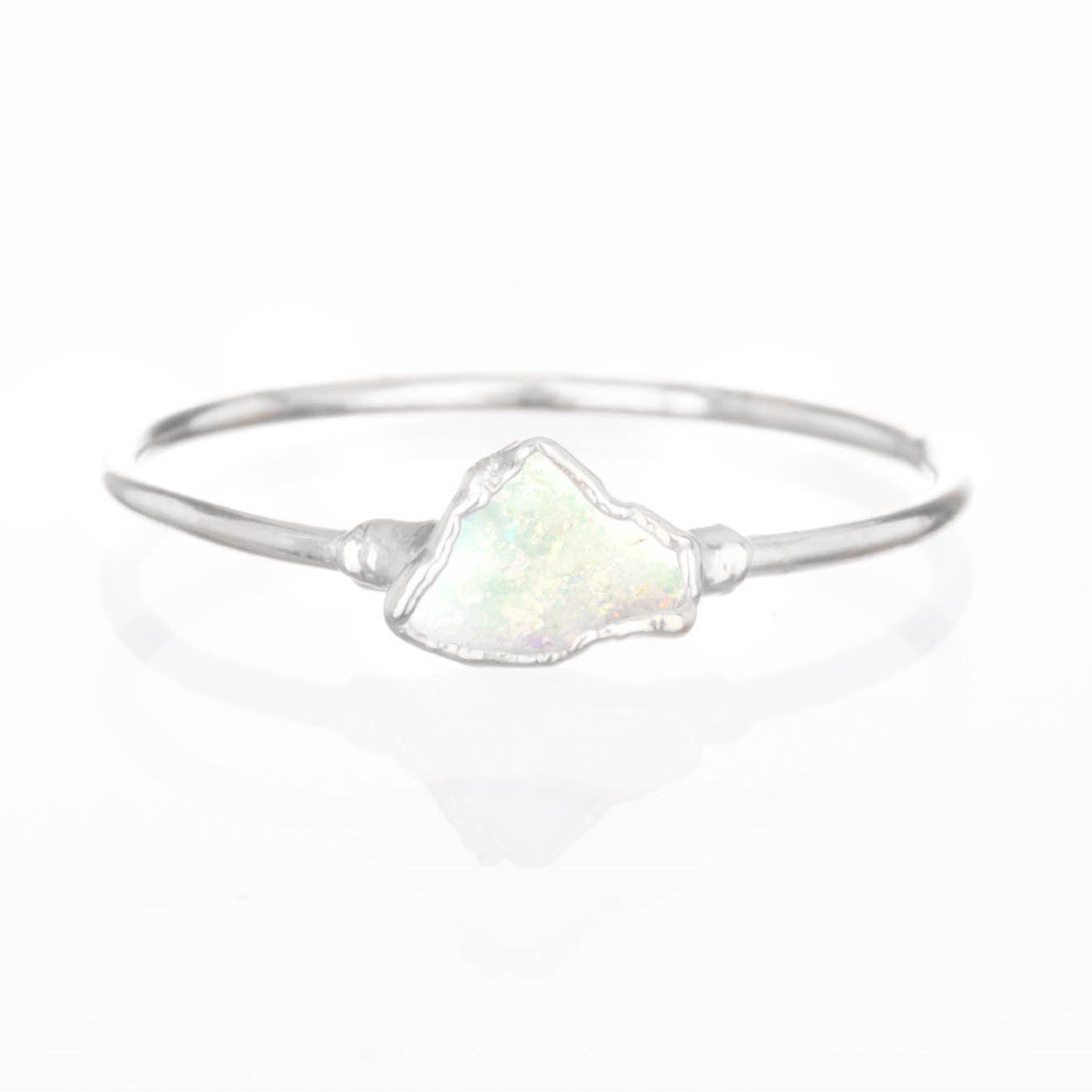 Mini Raw Opal Ring, Size 6, Sterling Silver, October Birthstone Stacking Ring