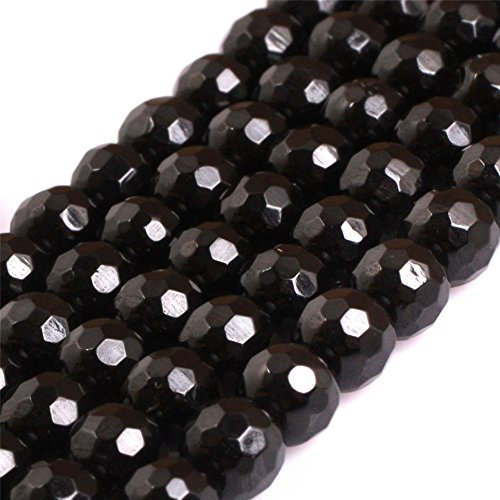 AAA Grade Natural Genuine Gemstone Semi Precious Stone Beads for jewelry Making 15'' (Round Faceted Black Spinel/5MM) (Necklace Black Spinel Bead)