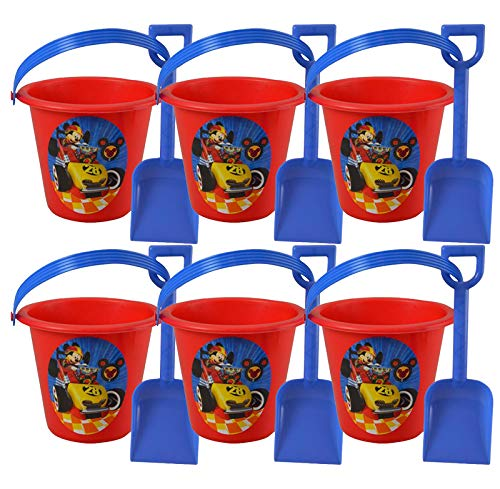 6pc Mickey Mouse Red Sand Bucket and Shovel For Birthday party Favor Gift -