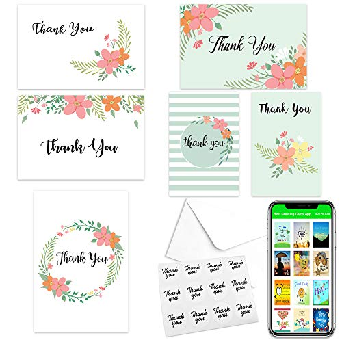 Thank You Cards - Thank You Notes - 48 Bulk Thank You Cards for Wedding, Baby Shower, Graduation, Sympathy with Envelopes and Thank You Stickers Included (6 Neutral Designs, 4x6 Photo Size)