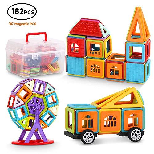 Magnetic Building Blocks, 162 pcs Magnetic Toys 3D Magnetic Building Tiles for Kids Creative Educational Construction Magnet Block Toys for Toddler +Free Storage Bin +Manual