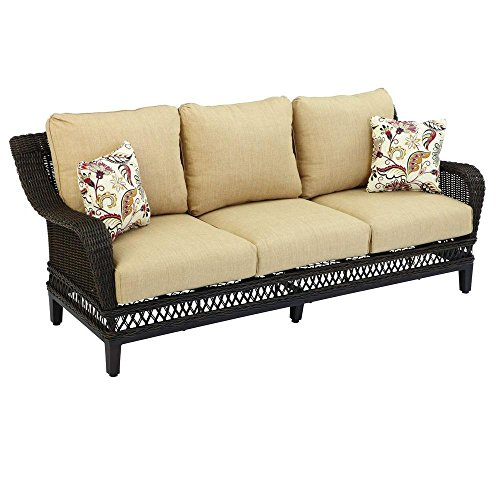 Hampton Bay Woodbury Patio Sofa with Textured Sand Cushion