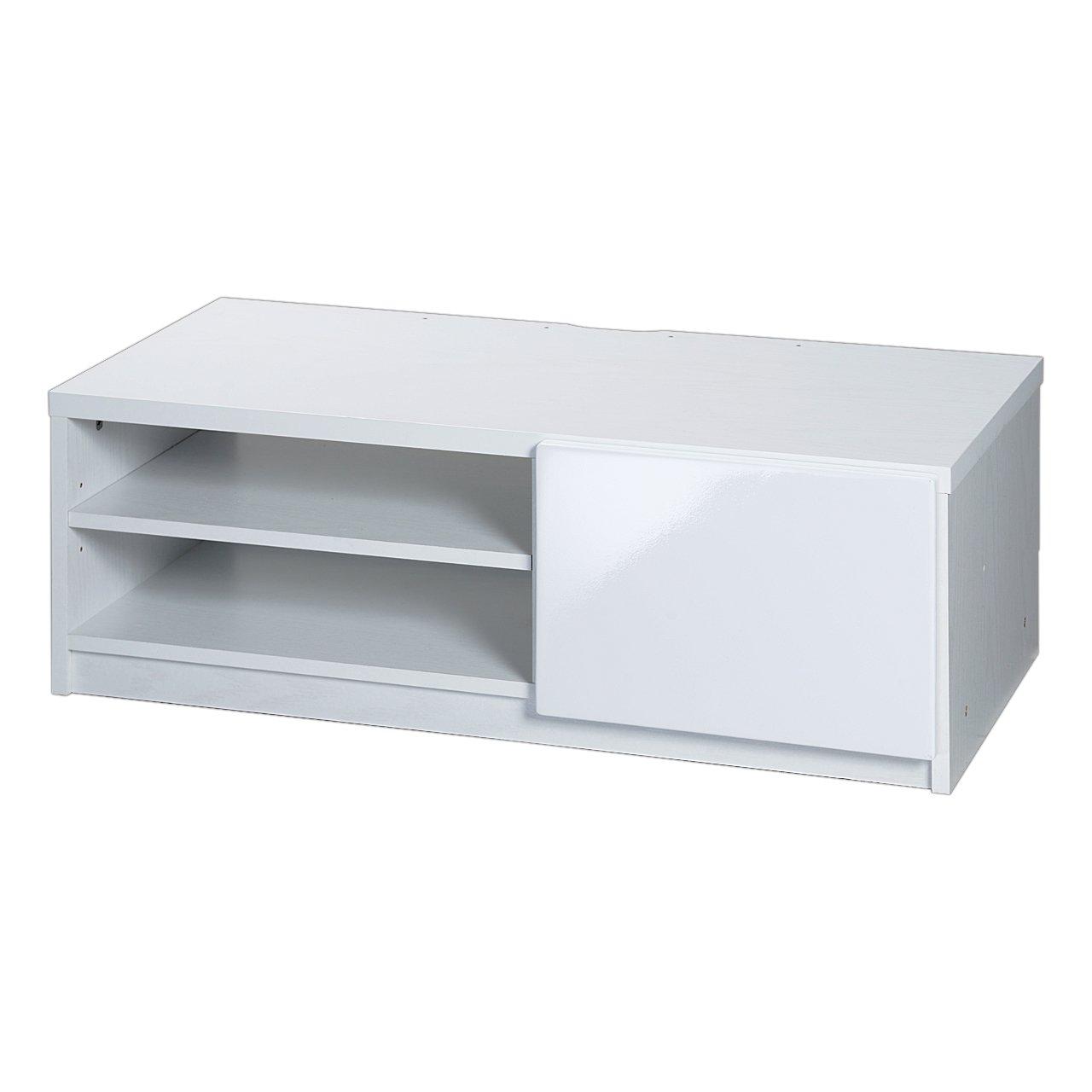 テレビ台 ローボード 鏡面 ロビン 幅85cm キャスター付き ホワイト(前板鏡面タイプ) B00TZOFKJS