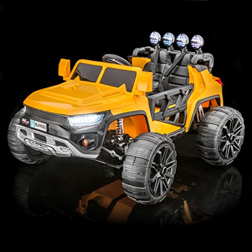 SUPERTrax WideTrack Kid's Ride On Electric Toy Car, Remote Control w/Free MP3 Player - Yellow ()