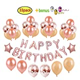 "Arts & Crafts : Happy Birthday Balloons Banner Decorations Party Supplies for Girls/Women - 16 inch Rose Gold Letters Balloon Banner + 12"" Rose Gold Confetti Balloons & Champagne Gold Balloons + 18"" Star Foil Balloon"