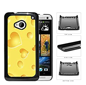 Yellow Cheese Heart Shapes Hard Plastic Snap On Cell Phone Case HTC One M7