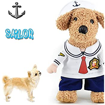 Dog Costume Cat Sailor Costume Pet Costume with Hat for Small Dog Cat Puppy by DELIFUR (M)