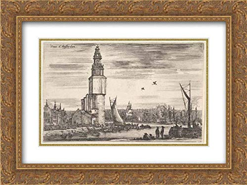 Stefano Della Bella - 40x28 Gold Ornate Frame and Double Matted Museum Art Print - View of Amsterdam (Vue d'Amsterdam), a Tower and Houses to Left, Men Standing on The pier to Right, Many Ships in t