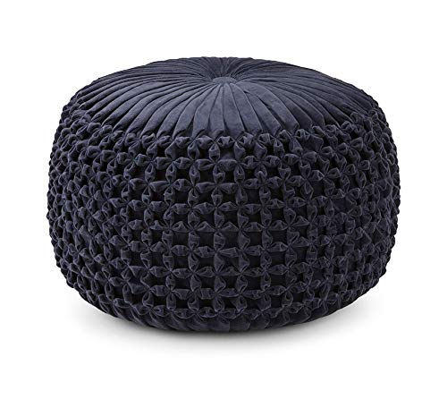 - Wood & Style Furniture Renee Transitional Round Pouf in Navy Velvet, Fully Assembled Home Office Commerial Heavy Duty Strong Décor