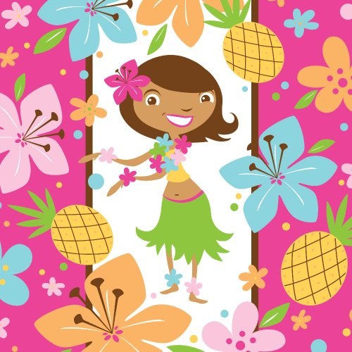 Creative Converting Pink Luau Fun 16 Count 3-Ply Paper Lunch Napkins