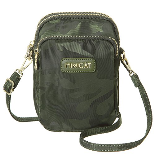 MINICAT Nylon RFID Blocking Small Crossbody Cell Phone Purse Bag Shoulder Handbag For Women (Green-RFID Blocking) by MINICAT