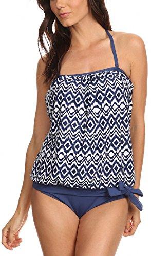 - ToBeInStyle Women's Blue Ikat Bandeau Blouson Tie Tankini - 18