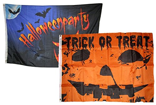 ALBATROS 3 ft x 5 ft Happy Halloween 2 Pack Flag Set Combo #13 Banner Grommets for Home and Parades, Official Party, All Weather Indoors Outdoors]()