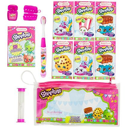 Shopkins Travel Kit: Toothbrush, Toothbrush Cap, Bubble Gum Floss, 2-Minute Timer, 6 10-Pack 2-Ply Pocket Tissues and 20 Sterile Adhesive Bangages.Gift Set