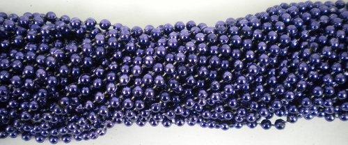 33 inch 07mm Round Navy Blue Mardi Gras Beads - 6 Dozen (72 necklaces)
