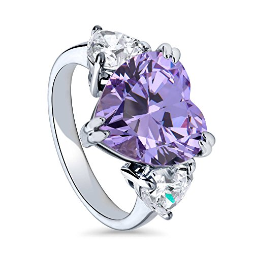 BERRICLE Rhodium Plated Silver Heart Shaped Purple Cubic Zirconia CZ 3-Stone Cocktail Ring Size 7