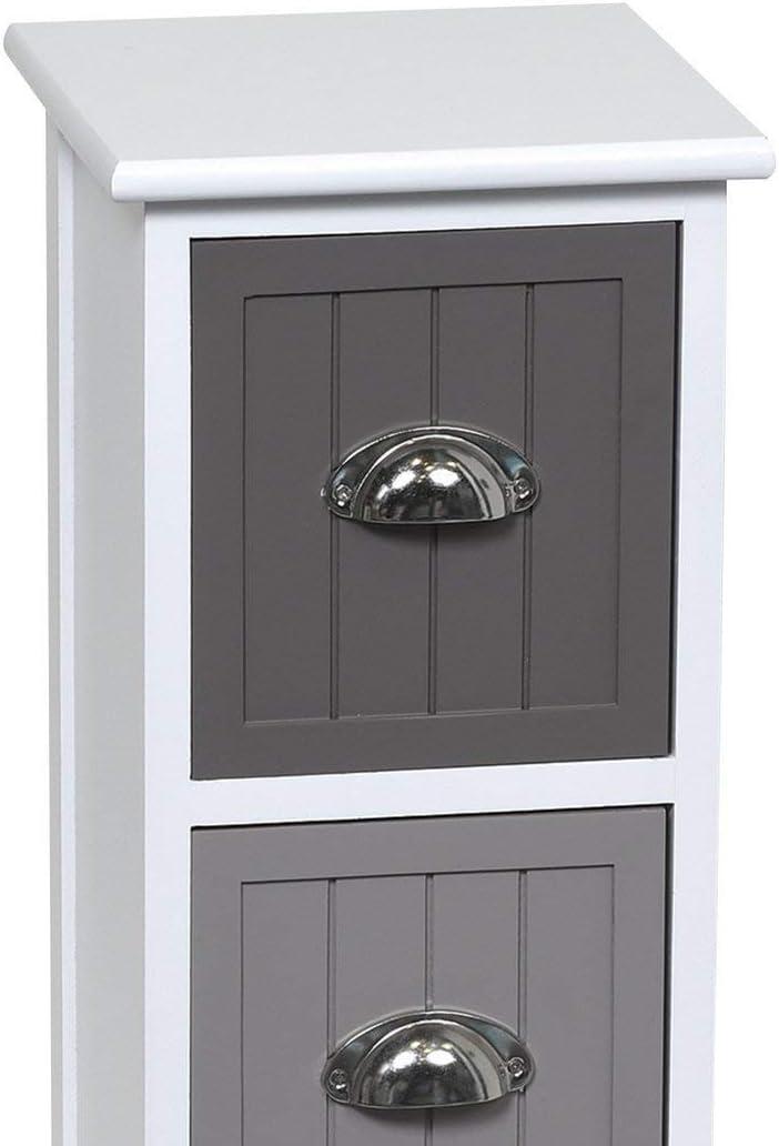 Meuble semainier 3 tiroirs avec poign/ées en m/étal Style Palette Coloris Bicolore Taupe