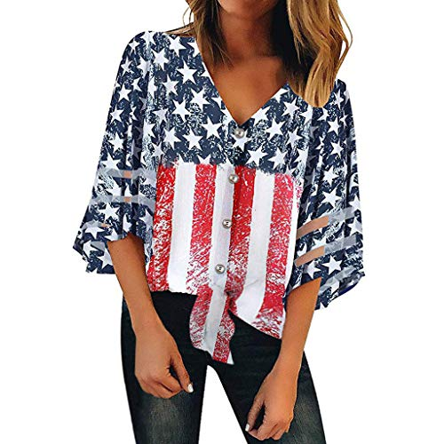 Toponly Women's Independence Day American Flag Print 3/4 Bell Sleeves Button Off Shoulder Shirt Mesh Panel Blouse V Neck Casual Loose Tops