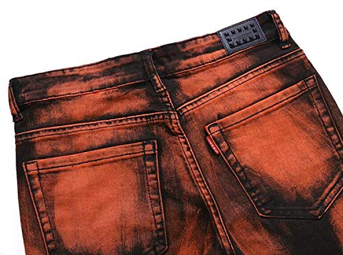 Libero Denim Jeans Slim Arancia Stampati Dritti In Da Fit Cotone Uomo Denim Tempo Pantaloni Stile Semplice Per ZgHZqwn8