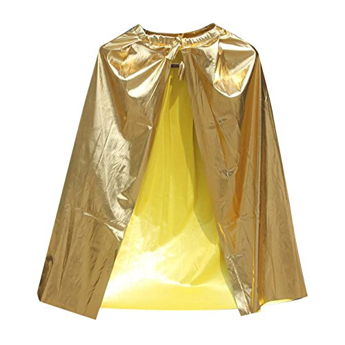 TOPTIE Shining Superhero Cape Dress Up Costume Party Accessory-Gold-Adult Size