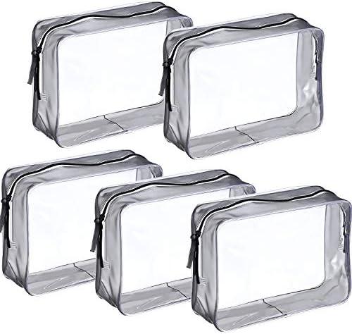 Clear Cosmetic BagToilettas Carry 5 Stuks PVC Waterdichte Toilettas Organizer Case met Ritsen voor Mannen en Vrouwen Reizen Zakelijke Vakantie Badkamer Organiseren