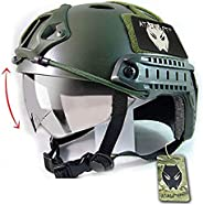 ATAIRSOFT PJ Type Tactical Multifunctional Fast Helmet with Visor Goggles Version