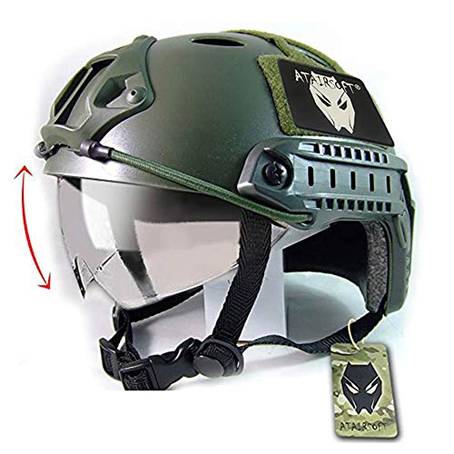 (ATAIRSOFT Breathable Tactical Airsoft Fast PJ Helmet w/Sliding Goggles OD Green)