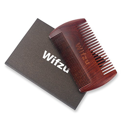 (Clearance) Anti Static Wood Pocket Comb & Gift Black Box By Wifzu,Wooden Beard Comb for men, Dual Action Beard Comb with Fine & Coarse Teeth For Beard Hair &Mustaches,Perfect for Balms and Oils