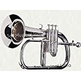 Queen Brass Silver Chrome Flugel Horn Bb Flat With Free Case Box & Mouth Pc.