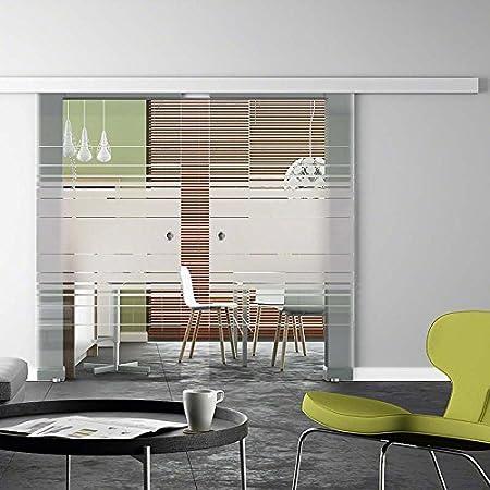 Ve y para puerta corredera de cristal Horizontal-serigrafía, 2-lámpara de techo{2} veces 2050 x 1025 mm con pomo: Amazon.es: Hogar