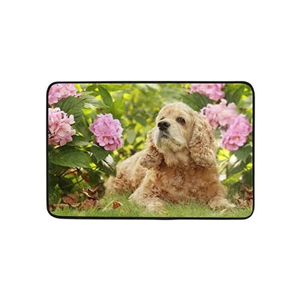 My Daily English Cocker Spaniel Dog Flower Shower Curtain 60 x 72 inch with Bath Mat Rug & Hooks, Waterproof Polyester Decoration Bathroom Curtain Set 5