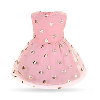 Amazon Seaby Pink With Gold Polka Dots Princess Dress Girl
