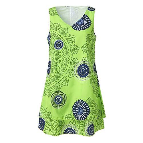 TOTOD Dress for Women,Plus Size Boho Print Mini Dress Loose Shift Sleeveless Tank Vest Sundress US 4-18 Green (Eden Bridals Flower Girl Dresses)