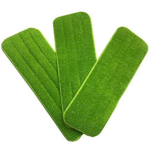 3-pack Washable Microfiber Mop Pads Refill Replacement Reusable,18″L X 5.5″W,Wet/Dry Cleaning Use,Cleaning Supply
