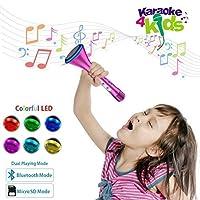 KOMVOX Kids Karaoke Machine, Sing Alone Kids Micrófono para niñas pequeñas, Bluetooth Handheld Machine Los mejores juguetes para 3 4 5 6 años de edad, niñas, regalos para la fiesta de cumpleaños de niñas