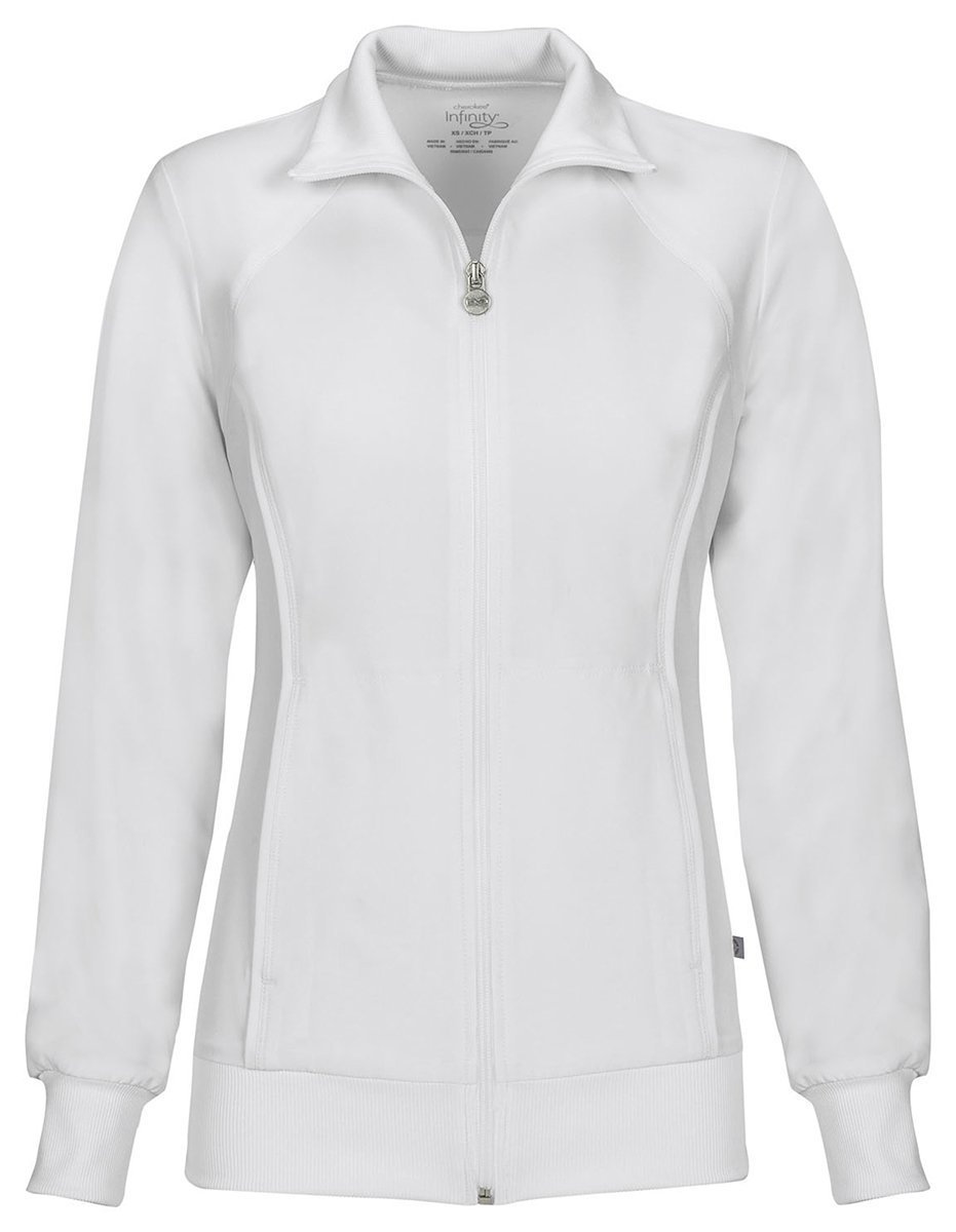 Cherokee Women's Zip Front Warm-Up Jacket_White_Small,2391A