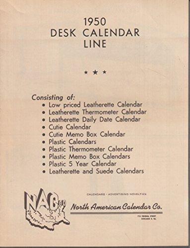 North American Calendar 1950 Desk Calendar Line Catalog w/ pin-ups