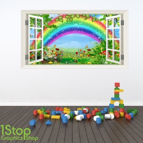 1Stop Graphics - FAIRY TALE RAINBOW WINDOW FULL COLOUR WALL STICKER - BOYS GIRLS GRAPHIC C347 - Size: Large