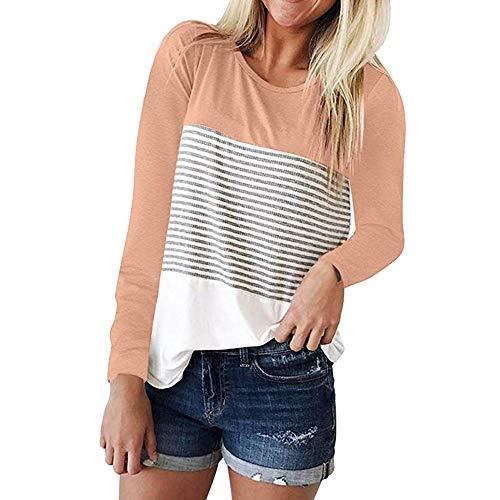 Bow Trimmed Knit Dress - UONQD Women Long Sleeve Triple Color Block Stripe T-Shirt Casual Blouse(X-Large,Xb-Pink)