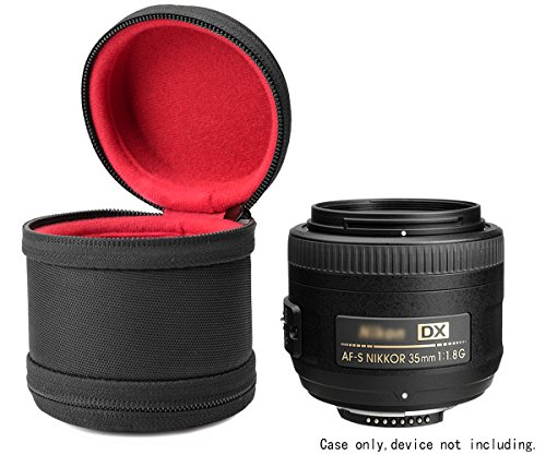 WGear Semi-Hard Case for DSLR Camera Lense (Canon, Nikon, Sony, Pentax, Olympus, Panasonic,etc), Small Size with Carabiner, lens cleaning wipe (Black - Lens Small