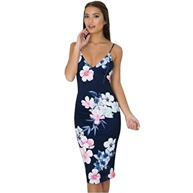 f605319f808 Hunputa Women's V Neck Backless Sleeveless Strappy Flowers Print Slim Tight Bodycon  Dress Club Midi Dress Large Blue: Amazon.in: Clothing & Accessories
