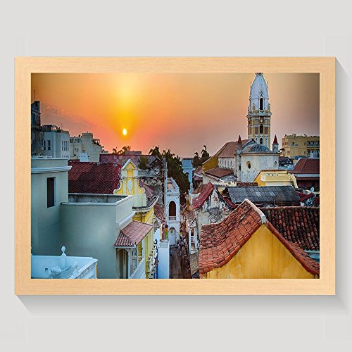 Rooftop Framed (Haixia Sunset View Over The Rooftops Of The Old City Cartagena Cathedral Colombian Coast Picture Decorative Framed Bedroom Decor Wall Art Painting Wood With Frame)