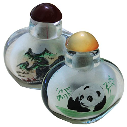 Chinese Inside Painted Snuff Bottle with Great Wall & Panda Scenes ( Set of 2 ) by Ancient-Gift