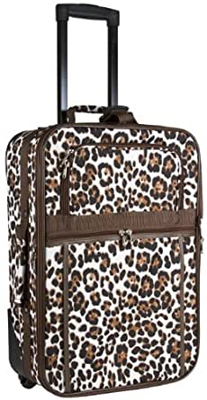 World Traveler Brown Animal Print 20-inch Expandable Carry On Rolling Luggage