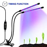 Dual Head Plant Grow Light with Timer, 18W 36 LED Clip UV Growth Lights Growing Lamp with Red Blue Spectrum for Indoor Plants Greenhouse Garden - 9 Dimmable Level, 3/9/12H Timing, 360° Gooseneck