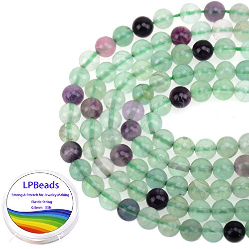 LPBeads 100PCS 8mm Natural Multicolor Fluorite Beads Gemstone Round Loose Beads for Jewelry Making with Crystal Stretch Cord