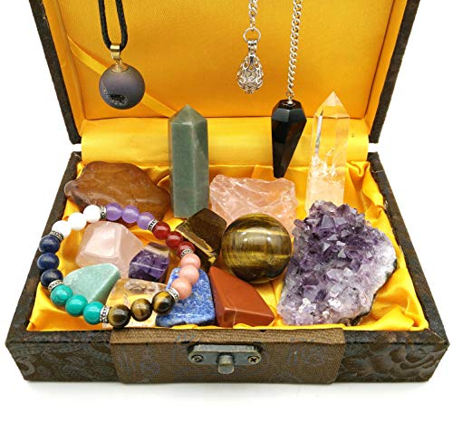 shangbo Healing Crystal Gift/Balancing Chakra Kit 17 Piece:7 Chakra Stones, 2 Crystal Points, Amethyst Cluster, Raw Agate,Raw Rose Quartz,Tiger Eye Ball,Reiki Pendulum,Chakra Bracelet,Pendant